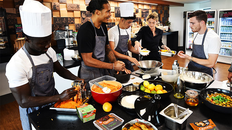 Liverpool FC players cooking with Quorn