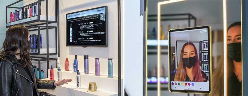 Digital screen and mirror in the salon